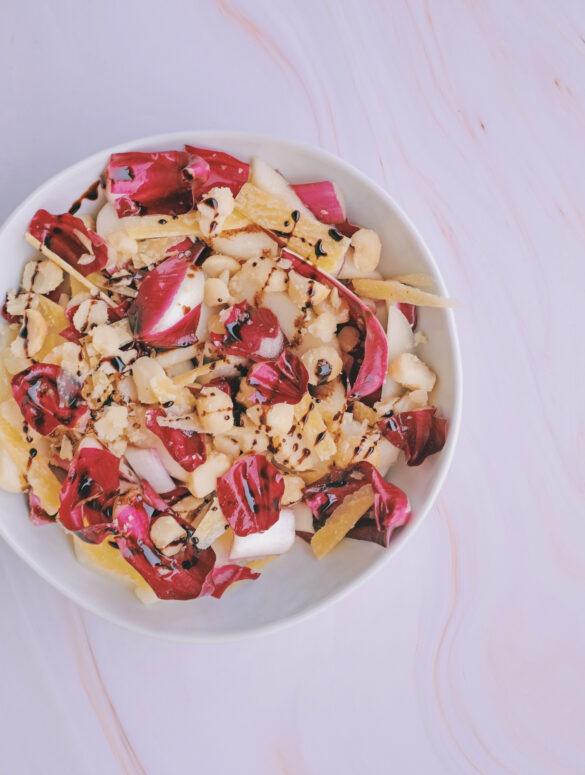 radicchio tardivo noci di macadamia pere parmigiano
